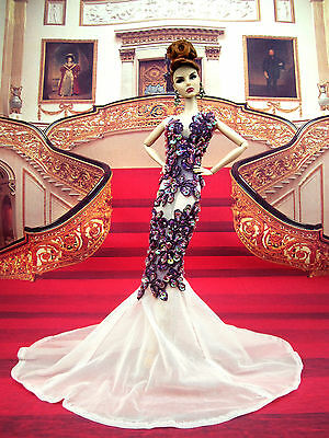 Eaki Evening White Purple Dress Gown Outfit Silkstone Barbie Fashion Royalty FR2