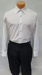 "Cardi /""Charles/"" Spread Collar 1//4/"" Pleat All Cotton French Cuff Tuxedo Shirt"