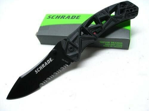 Schrade SCHA11BS Tactical Black Shizzle Assisted Serrated Folding Pocket Knife