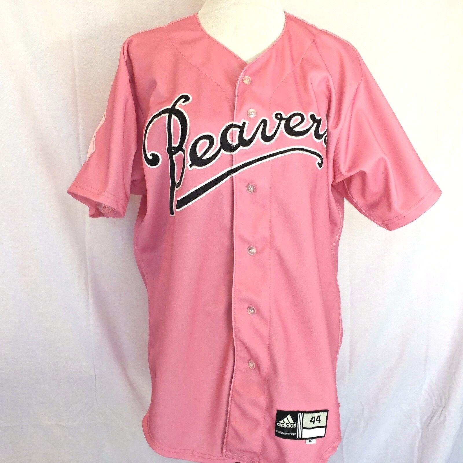 PORTLAND BEAVERS Pink Baseball Jersey SZ 44 Breast Cancer Awareness ADIDAS