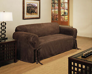 Image Is Loading Heavyweight Micro Suede Slipcover Sofa Couch Chocolate  Brown