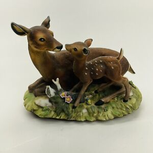 Home-Interiors-Masterpiece-Porcelain-By-HOMCO-Whitetail-Deer-Doe-amp-Fawn