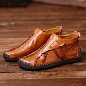 Menico-Men-Hand-Stitching-Casual-Hook-Loop-Ankle-Boots-Leather-Shoes-Large