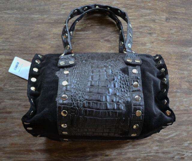 Hammitt Los Angeles Westwood Satchel Navy Blue Croc Suede Purse Handbag
