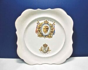Antique-HM-KING-EDWARD-VIII-CORONATION-PLATE-MAY-12-1937-L-amp-Sons-Hanley-England