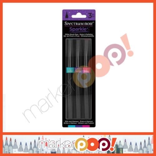 Spectrum Noir Sparkle Glitter Brush Pen Set of 3 Glitz Glamour SPECN-SPA-GLIT3