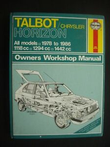 talbot chrysler horizon haynes workshop manual all models 1978 rh ebay ie Talbots Clothing Talbots Locations