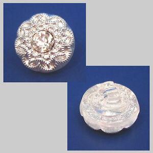 1 böhmischer Glasknopf mit Strass Steinchen · Crystal Weiß 12mm · k201