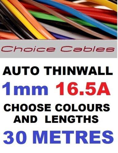 Thinwall Automotriz Cable De 1mm Auto Barco Telar de alambre 16a 40 Colores 30m 32//0.20
