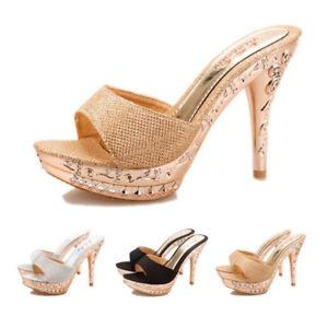 2018 Women Sandals Cross Strappy Slingbacks High Heel Open Toe Shoes Plus Size