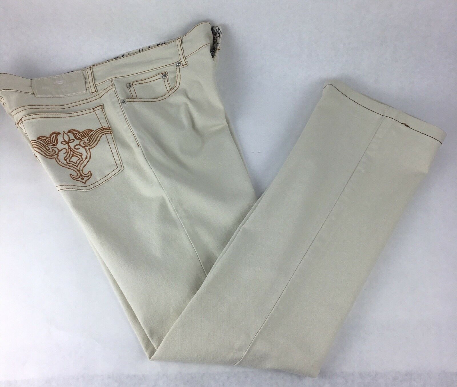 Etro Casual Pants Women 31 US White Ivory Cotton Stretch Made in