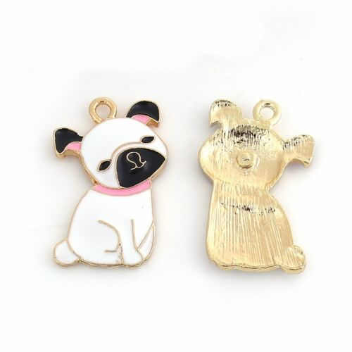 2 Or 5PCs 33mm Gold Plated Enamel Pendants C2432-1 Pug Puppy Dog Charms