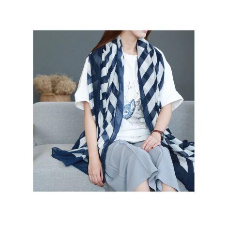 Cotton Women Long Classic Stripes Pattern Sarong Cover up Beachwear 180 x 92 cm