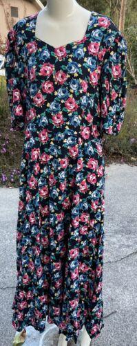 80s 90s Vtg Floral Print Laura Ashley Dress Cotta… - image 1