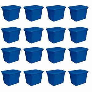 Sterilite-18-Gallon-Plastic-Stackable-Storage-Tote-Container-Box-Blue-16-Pack