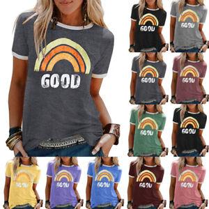 Womens-Ladies-Rainbow-Pullover-Basic-Shirt-Short-Sleeve-Blouse-Tee-Tops-Size8-22
