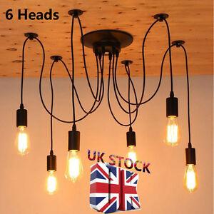 6 heads vintage edison bulb chandelier e27 art spider ceiling lamp image is loading 6 heads vintage edison bulb chandelier e27 art aloadofball Image collections
