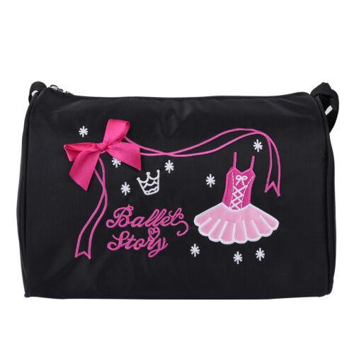 Kids Ballet Duffle Gym Shoulder Bag Dance Training Tote Bowknot Dress Embroidery