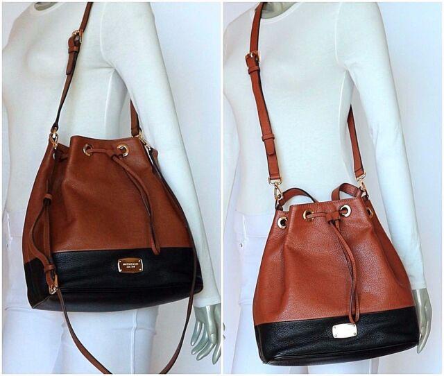 8505a1b7a234 Michael Kors Large Jules Leather Drawstring Shoulder Bucket Bag Tote ...