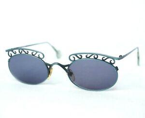 L-A-EYEWORKS-sunglasses-vintage-grey-metal-oval-blue-la-magda-422-brow-unusual