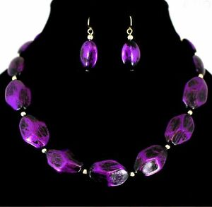 Deep-Purple-Metallic-Brushed-Beads-Necklace-amp-Earring-Set