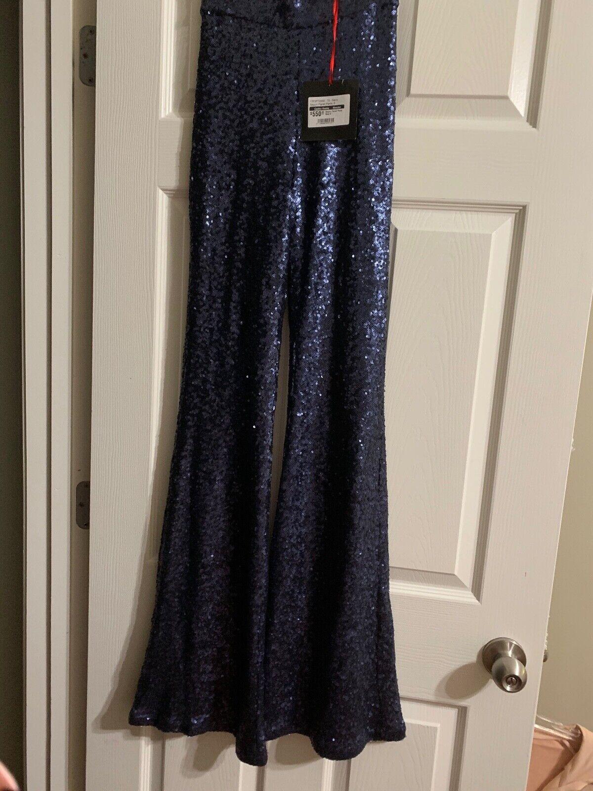 Cynthia Rowley Lentejuelas Acampanado  Pantalones Azul  salida