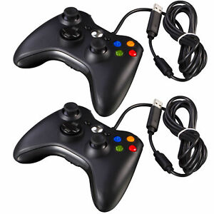 2X Black Wired USB Game Controller Pad For Microsoft Xbox 360 system windows PC