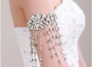 Bridal-Wedding-Luxury-Crystal-Tassel-Armlet-Shoulder-Chain-Accessory-Bracelet