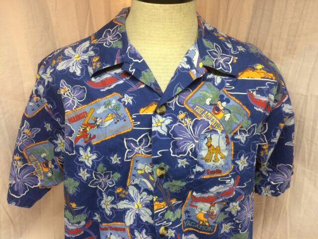 Disney Mickey Tiki Surf Vacation Blue Medium Hawaiian Shirt Short Sleeve Beach M