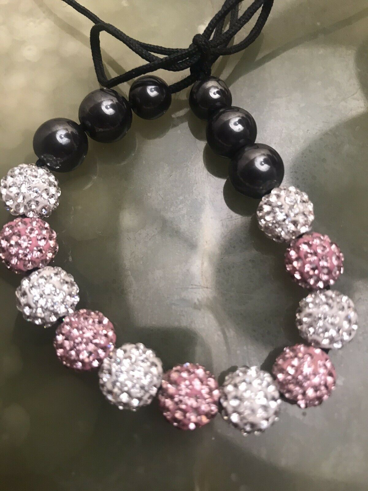 *Beautiful Bracelet Black/Pink/Silver Look/stones ~Immaculate Condition!!*