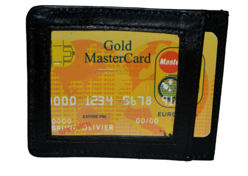 Leather Magnetic Money Clip Slim Credit Card Id Holder Black New by Leatherboss