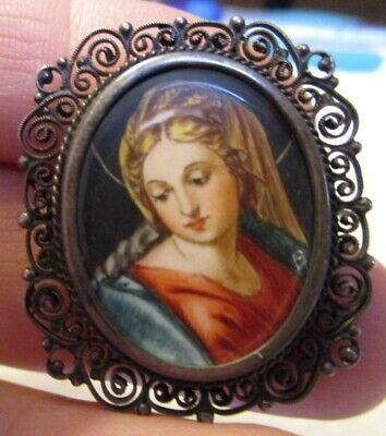 Madonna and Child Cameo 800 Silver Marcasite Brooch