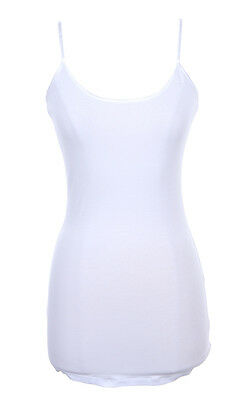 Spaghetti Strap Cotton Camisole Tunic Long Basic Plain Tank Top S M L 1XL 2XL 3X