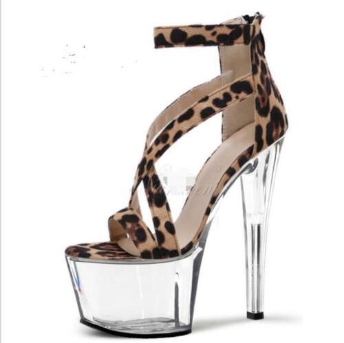 Details about  /New Women/'s Sandals Platform Stilettos High Heels Peep Toe Leopard Shoes Size