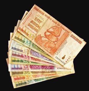 Image Is Loading 9 Zimbabwe Banknotes 50 100 200 500 Million
