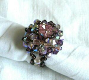 Détails sur Bague perles SWAROVSKI, taille 52-54, grosse, ronde, violet  rose, fait main,NEUF