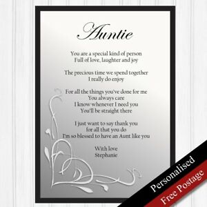 Auntie Gift Personalised Birthday Gift For AuntKeepsake Poem