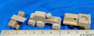 LOT-3-VTG-Wood-Toy-Model-Cars-1960s-70s-Mattel-1971-8700-01-Plane-Train-Auto