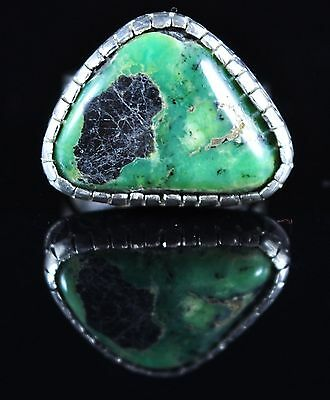 Sterling Silver Rare Pixie Turquoise Handmade Engraved Navajo Ring Kelly Morgan