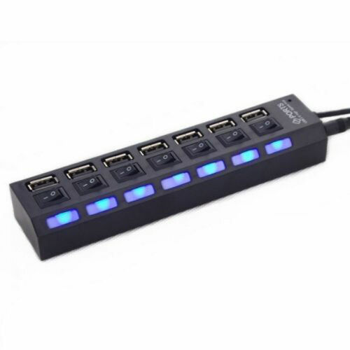 7 port USB 2.0 3.0 HUB W// Power On//Off Switch High Speed Adapter Cable For PC RF