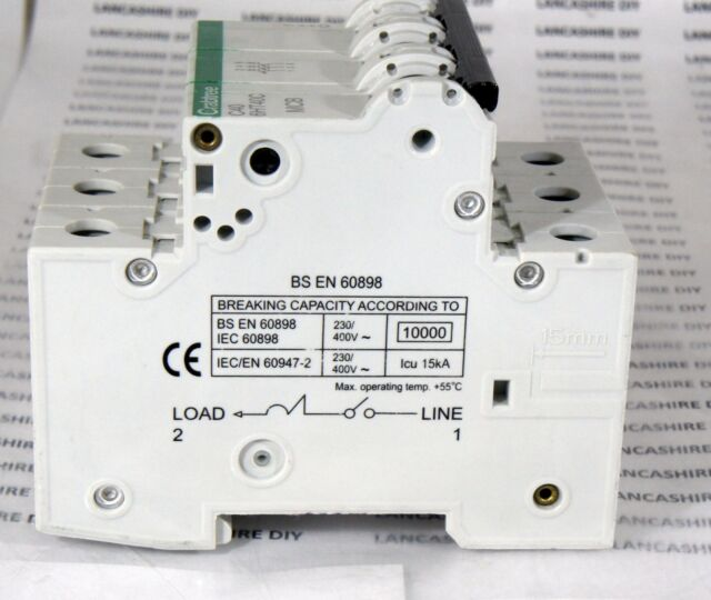 Crabtree Loadstar 3 pole C406HT40C 3 Pole MCB Type C 40Amp 15kA Breaker 230//400V