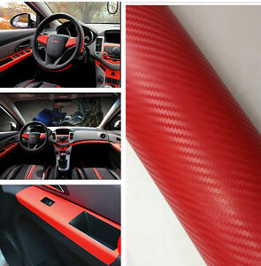 38cmx100cm 3d red carbon fiber vinyl car diy wrap sheet roll film car sticker ebay. Black Bedroom Furniture Sets. Home Design Ideas