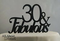 All About Details Black 30-&-fabulous Cake Topper, New, Free Shipping