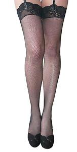 2-Paires-Essexee-Legs-Haut-Dentelle-Resille-Mi-Chaussettes-Noir-90-Nylon-10