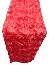 """10 Coral Rosette Rose 3D Satin Table Runners 12/""""x108/"""" Ribbon Wedding Event"""