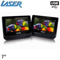 Portable Dvd Player Dual Screen In Car 7 W/ Bonus Pack Watch Video Images Music