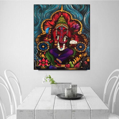 KF_ BL_ AU_ Indian Elephant Deity Ganesha Wall Painting Picture Frameless Art