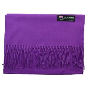 Women-100-CASHMERE-Warm-PLAIN-Scarf-pure-solid-Purple-Wool-MADE-IN-SCOTLAND