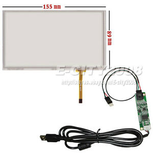 """6.5"""" Resistive Touch screen Digitizer glass 155*89mm + USB Controller Kit"""