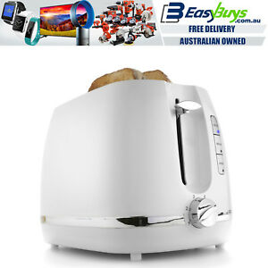 Toaster-2-Slice-Electric-White-amp-Silver-with-Warming-Rack-Crumb-Tray-Toast-Slot